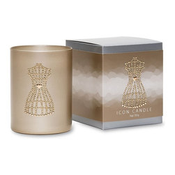 Primal Elements - Dress Form Icon Candle in Gold Glass - Sophisticated floral and amber. Each hand poured, vegetable wax blend candle features a romantic image crafted with metal studs upon an antique gold metallic glass. Nine ounce Icon Candles have an approximate burn time of 50 hours.