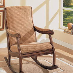 None - William's Home Furnishing Rocker Chair - Relax in comfort and style with this beautiful fabric accent chair from William's Home Furnishing. This classic rocker chair is constructed from a soft, neutral fabric covering the seat, back, and arms giving you a comfortable place to rest.