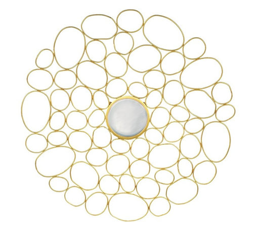 Palecek - Gold Bubble Metal Wall Decor - Hand-forged wrought iron metal decor welded into irregular circular design and finished with a beveled center mirror.