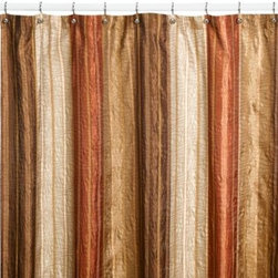 Manor Hill - Manor Hill Sierra Copper 72-Inch x 72-Inch Fabric Shower Curtain - Spicy shades of copper, paprika and brown bring a warm look to your bathroom's decor. A touch of iridescence adds shimmer and luster.