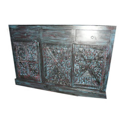 Mogul interior - Sideboard Chest Bastar Tribal Old World Hand Carved Furniture - Create the ambience of an old country cottage with the richly painted wood sideboard.
