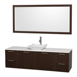 Wyndham Collection - Wyndham Collection 'Amare' 72-inch Espresso/ White Top/ Carrera Sink Vanity Set - Modern clean lines and a truly elegant design aesthetic define this Amare single vanity set from the Wyndham Collection. An arced,marble basin sink sits atop artificial stone then combines with espresso-finished wood to complete this bathroom decor.