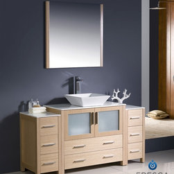 "Fresca - Fresca Torino 60"" Modern Bathroom Vanity w/ Two Side Cabinets & Vessel Sink - Li - Fresca is pleased to usher in a new age of customization with the introduction of its Torino line. The frosted glass panels of the doors balance out the sleek and modern lines of Torino, allowing it to fit perfectly in both 'Town' and 'Country' décor.The Fresco Torino bathroom vanity is 60"" wide and 33.75"" high, and boasts 18.13"" deep under-sink storage space – perfect for towels and other bathroom necessities. This bathroom vanity is completed with a 31.5"" wide x 31.5"" high x 1.25"" deep wall mounted mirror for optimal function and style.Items included: Main Vanity Cabinet(s), Countertop(s), Vessel/Integrated Sink(s), Mirror(s), Faucet(s), P-Trap and Pop-Up Drain(s), Standard hardware needed for installation.DecorPlanet is proud to offer Fresca Bathroom products. Fresca is a leading manufacturer of high-quality vanities, accessories, toilets, faucets, and everything else to give you the freshest bathroom in the neighborhood. Fresca is known for carrying the latest and most popular styles in modern and contemporary bathroom design that are made with high quality materials and superior workmanship."