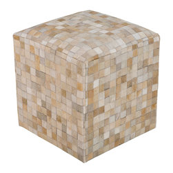 Surya - Surya Checkerboard Cream Leather Pouf - The modern Surya Checkerboard pouf delivers a purely posh presence. In classic neutrals, the foot rest's subtle square pattern elicits simplistic geometric intrigue. 100% leather; Shades of cream, tan, gray and beige .