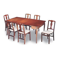 Stakmore - Expanding Dining Table in Warm Cherry Finish - Chairs not included. Traditional style. Can be used as console and game table. Two additional leaves expands to dining table. Hidden fifth leg for extra support in the open dining position. Made from premium solid wood. Dining table: 72 in. W x 40 in. D x 29 in. H. Console table: 40 in. W x 20 in. D x 29 in. H. Gaming/Dinette table: 40 in. L x 40 in. L x 29 in. HPracticality meets functionality with this expanding table. In its starting position this table is a traditional console or sofa table, by pulling out the back legs and flipping the hinged top it easily becomes a 40 by 49 inch game/dinette table. If more seating area is needed, simply extend the table further and add two leaves (included) and you get a 72 inch long dining table easily seating six people. With a warm cherry finish and traditional styling this piece of furniture will be the most versatile piece in your home