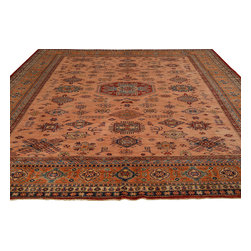 Hand Knotted High Quality Salmon Kazak Oriental Rug 9'x12' 100% Wool Sh18049 - Our Tribal & Geometric hand knotted rug collection, consists of classic rugs woven with geometric patterns based on traditional tribal motifs. You will find Kazak rugs and flat-woven Kilims with centuries-old classic Turkish, Persian, Caucasian and Armenian patterns. The collection also includes the antique, finely-woven Serapi Heriz, the Mamluk Afghan, and the traditional village Persian rug.