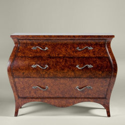 Marlowe Bombé Chest - Painted with a tortoiseshell finish, the Marlowe Bombé chest with its elegant serpentine shape was inspired by French 19th century heirloom pieces.  It would beautiful in an entry or in a living room.  Don't forget to add a gorgeous mirror above to complete the look.