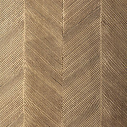 Schumacher - Chevron Texture Wallpaper, Sable - Chevron Texture is composed of raised diagonal stripes, which are created by hand and form a wide herringbone pattern. This tailored wall-covering has a glamorous, metallic surface in a range of colors from pale White Gold to deep Burnished Bronze.