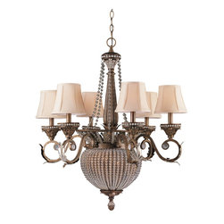Crystorama - Crystorama Roosevelt 1 Tier Chandelier in Weathered Patina - Shown in picture: Roosevelt Chandelier Draped with Clear Crystal Beads; Roosevelt Collection has Wrought Iron hand painted in Weather Patina finish and has Clear Glass Beads as accents. Ivory Shade Included.