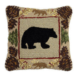 Chandler 4 Corners - Northwoods Bear Hooked Pillow - Shop our Cabin Fever and Rustic Lodge collections for unique, rustic furniture, lighting, entertaining essentials textiles and accessories to create a cozy cabin feeling for your home! See our Pinterest Boards: Home for the Holidays and Cabin Fever for design inspiration!