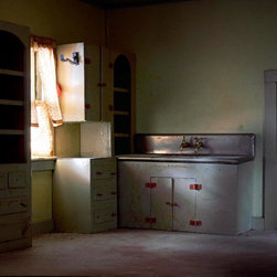 Empty Drawers - Original Fine Art Photography - This archival, limited edition print conjures up the emotions and movement that once took place within this silent room. It's a hauntingly, beautiful tribute to memory. The photographer uses a variety of lenses, perspectives, lighting and digital techniques to create a sense that the rooms are real but at the same time disturbingly not real.