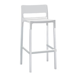 Eurostyle - Divo Bar Stool (Set of 4) - Linen/Aluminum - Fiberglass reinforced polypropylene shell