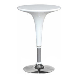 Lemoderno - Fine Mod Imports  Razzle Bar Table, White - The Razzle Bar Table is made of fiberglass with chrome base and is very popular in ice cream stores, restaurants, and at offices and homes.     Assembly Required