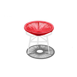 Harmonia Living - Acapulco Patio Side Table and Ottoman, Candy Apple Red/White - The Acapulco Side Table in Candy Apple Red with White Frame (SKU HL-ACA-ST-CAW) by Harmonia Living blends mid-century design with modern funk to create a new standard of comfort and style for your patio. The collection is inspired by woven furniture that was incredibly popular in Central America in the 1950s and '60s, creating seating that is supportive and breathable. This makes the Acapulco Lounge Chair ideal for unwinding even in the warmest climates. The chair is designed to center your weight between its triangular legs, providing a stable and comfortable resting position that seems to defy the outrageous geometry of the collection. Beyond its comfortable design, the lounge chair is constructed with a powder-coated steel frame, making it incredibly durable and weather-resistant. The frame is wrapped in a supportive Polyethylene cord, giving the collection its distinctive look. The chair is available in 4 funky colors that are sure to brighten up your patio, including Lime Green, Hot Pink, Candy Apple Red, Glacier Blue, White Lighting, Atomic Tangerine and Jet Black.