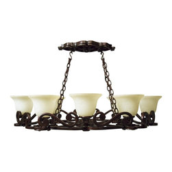 Craftmade - Hanging 8 Light Pot Rack - Scroll Design - Bulb Type: A-Type. Max Watt: 8x60W. Glass Finish: Antique Scavo. Height: 8.5 in.. Width: 38.39 in.. Size: 8 Lamp. Type of Fixture: Pot Rack. This fixture comes with 10' of chain and 12' of cord