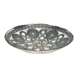 "IMAX - Trish Glass Charger - Inspired by Turkish glass and Celtic patterns, the Trish glass charger features striking pattern and makes a bold statement. Item Dimensions: (15.75""h x 15.75""w x 3"")"