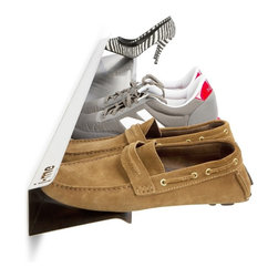 "J-Me - 1,200 mm Horizontal Shoe Rack - Get off on the right foot everyday with this ingeniously designed shoe rack. Made of stainless steel, it holds seven of your favorite pairs, allowing them to ""float"" for easy access."