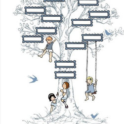 Sarah Jane Family Tree Print - Instill a love of family in your child with this contemporary take on a family tree. Name all the way up to great-grandparents with this 3-generation pedigree chart. Pridefully add your names and watch the tree continue to grow over the years. The image measures 8x10 and includes a white border perfect for framing.