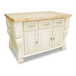 "Inviting Home - Sonoma Kitchen Island (antique white) - Sonoma kitchen island in antique white finish; 53-1/2""W x 33-3/4""D x 35-1/2""H; (1-3/4"" hard maple butcher block 01 top sold separately); Kitchen island features soft-close under-mount slides on drawers soft-close European hinges and fully adjustable shelves. 1-3/4"" hard maple butcher block top 01 sold separately."
