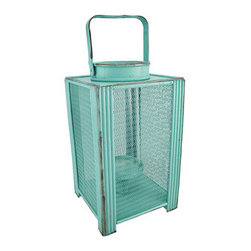 Sea Green Tabletop Candle Lantern 12.5 In. - This decorative lantern is a beautiful accent to tables in your home or on your porch or patio. Made of wood and wire mesh with a glass insert, it measures 12 inches tall and has a 7 inch by 7 inch base. It can accommodate candles up to 7 inches tall and 2 1/2 inches in diameter. A fun alternative to traditional candles is battery powered LED candles with timers, for worry-free accent lighting. This lantern is a great addition to your home, and it makes a lovely gift.
