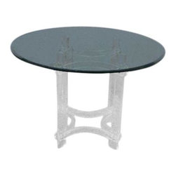 Pre-owned 1970s Modern Lucite Dining Table - A to-die-for 1970's modern Lucite with glass top round dining table, reminiscent of Charles Hollis Jones. An airy addition to brighten up a small apartment sized dining area. This piece is in good vintage condition with some wear due to age and use.