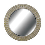 "Kenroy Home - Contemporary Kenroy Home Bezel Gold And Silver 32"" Round Wall Mirror - A glamorous piece that would fit marvelously into a traditional living space the Bezel mirror features a large round frame that is rich with texture and geometric details. The frame is coated in a gold gilt finish with silver accents and within the frame lies a sparkling round mirror panel with luxurious beveled glass. Hang on any empty wall for a luxe style that reflects beautifully. By Kenroy Home. Polyurethane construction. Gold gilt and silver finishes. Beveled glass. 32"" round. Mirror glass only is 25"" round.  Polyurethane construction.  Gold gilt and silver finishes.  Beveled glass.  32"" round.  Mirror glass only is 25"" round."