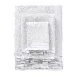 Nine Space - Pleated Towel Set, White - Woven by hand of pure Turkish cotton, these dreamy towels will add a sweetly sophisticated note to your powder room. The soft, cotton terry is paired with ruffled pleats for a look that's decidedly romantic.