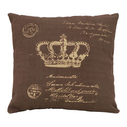 Benzara - Brown Pillow With Paris Postcard Theme - Being one of the most fun places in all the world, it's good advice to always keep a little bit of Paris nearby inside your home. This pillow features graphics of hand written messages as well as the French crown jewels, for an authentic homage to postcard traveling across Paris, all over your couch. Get several types to build the perfect set.