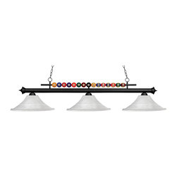 Z-Lite - 170GM-FWM16 Gun Metal Shark 3 Light Chandelier with Glass Shade - Z-Lite 170 FWM16 Shark 3-Light Pool Table Light Shark 3-Light Pool Table LightPlayful pool ball motifs best describe this beautiful three light fixture.