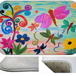 Dragon Fly Garden Plush Bath Mat, 20X15 - Bath mats from my original art and designs. Super soft plush fabric with a non skid backing. Eco friendly water base dyes that will not fade or alter the texture of the fabric. Washable 100 % polyester and mold resistant. Great for the bath room or anywhere in the home. At 1/2 inch thick our mats are softer and more plush than the typical comfort mats.Your toes will love you.