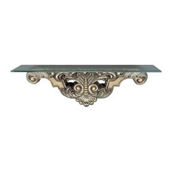 Cal Lighting - Beads & Leaf Wall Mount Console Table in Antique Silver Finish - Beads & leaf wall mount console table. Height: 11.5 in.. Base: 37.75 in.. Weight: 20.9 lbs.