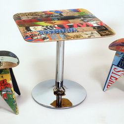 Skatecafe - Recycled Skateboard Dining Tables - Broken skateboards are ripped into planks and then joined in a single layer to create the sleek and colorful table tops of our Skatecafe line. A hidden reinforcement panel underneath strengthens and ensures a flat surface while the chromed-out steel tablebase brings some bling.