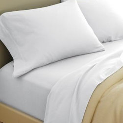 Garnet Hill - Garnet Hill Paintbrush Cotton Flannel Sheets - California King - Fitted - White - This cotton flannel bedding is featured in modern colors designed to mix and match. This flannel bedding is made in Portugal of pure cotton that's brushed on both sides for softness. Fitted sheet is fully elasticized for a better fit. Pocket depth 12 inches.