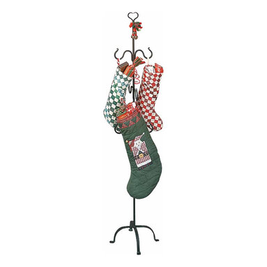 Renovators Supply - Stocking Holders Black Iron Christmas Stocking Hanger 60'' H - Wrought Iron Christmas Stocking Hanger holds up to 6 stockings with care anywhere in your home. Want that holiday feeling but don��_��__��_t have a mantle or don��_��__��_t want to create a fire hazard? This is the perfect traditional solution for you. Showcase your Christmas stockings but also keep them at a safe distance from the fireplace. Handcrafted and forged this wrought iron holder is specially crafted for the holiday season. Our protective baked-on finish keeps this holder looking new year after year. Neatly disassembles into 3 pieces for easy storage. Light assembly required. Overall heights is 60 inches.