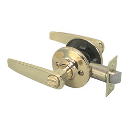 Premier - Blade Style Privacy Leverset - Polished Brass - Legend 809058 Blade Style Lever Handle Privacy Bed and Bath Leverset Lockset, US3 Polished Brass Finish.