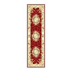 Safavieh - Red Victorian Rug with Roses (2 ft. 3 in. x 12 ft.) - Size: 2 ft. 3 in. x 12 ft. Machine Made. Made of Polypropylene. Everything comes up roses with this traditional runner rug. Rectangular rug features everlasting polypropylene texture. Red field and light border are accented with a multitude of floral designs and vines.