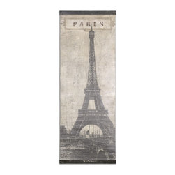 Uttermost - Uttermost Eiffel Tower Paris Canvas Art 55017 - Image is printed on a canvas and features a crackled finish. There is a distressed black wooden strip at the top and bottom of canvas providing the weight and support for this to hang straight.