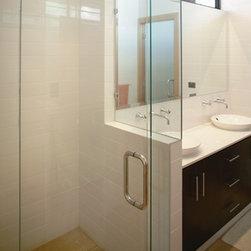 Corner Frameless Shower Enclosure - Fully frameless shower enclosure.