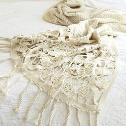 """Crochet Knit Throw, 50 x 70"""", Ivory - Like an heirloom blanket, our nostalgic knit cotton throw is fringed on one end with a wide border that's artfully crocheted by hand. 50 x 60"""" Made of pure cotton. Dry-clean. Imported."""
