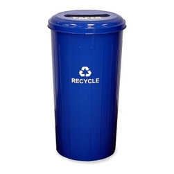 Witt Industries Paper Slot 22 Gallon Blue Recycling Bin - Place the Witt Industries Paper Slot 22-Gallon Blue Recycling Bin next to the copier fax machine or any other place where a lot of paper is used. Designed to promote recycling this bin is clearly marked with the recycling logo and makes recycling easy. The specially slotted top helps keep other materials out of the bin while the label designates the bin as a paper-only recycling container. Constructed from steel for durability and longevity this bin holds up to 22 gallons.About Witt IndustriesWith its rich and established history in the steel waste receptacle manufacturing industry that dates back to 1887 Witt Industries has been in the forefront with its innovation quality and service. The company's founder George Witt invented and patented the first corrugated galvanized ash can and lid back in 1889 and the company has never looked back. Today Witt Industries is part of the Armor Metal Group and is a woman-owned business.