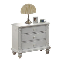 Coaster - Coaster Kayla 3 Drawer Nightstand in Distressed White Finish - Coaster - Nightstands - 201182 - Add this charming nightstand to your master bedroom for a casual cottage look that you will love. With simple style this piece will add great style and functional to your room. Turned post corners pretty turned feet and wooden knobs create just the right look. Three spacious drawers offer you lots of storage space to keep all of your bedsides essentials such as books and magazines close at hand. With a distressed White finish this piece is sure to match your space.
