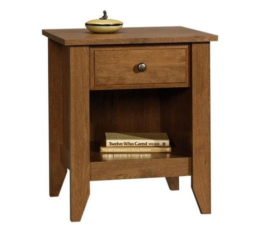 Sauder - Shoal Creek 1 Drawer Nightstand w Open Shelf - Finish: Jamocha Wood1 Drawer with metal runners and safety stops. Patented T-lock assembly system. Open shelf provides additional storage. Patented slide-on molding. Made of engineered wood. Assembly required. 21 in. W x 17 in. D x 24 in. H