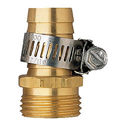 "Orbit - Orbit Male Thread Aluminum 5/8"" Water Hose Repair & Clamp - Garden Hoses, 56182 - This Orbit metal hose mender is made to repair the male end of a standard garden hose. It has a durable aluminum construction, and features a stainless steel clamp that tightens it in place. You must have this mender to ensure longer life for your water hose.Features and Benefits"