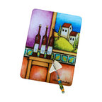 Jazzy Artz - Wine Table Cutting Board - Tempered Glass Cutting Board is scratch, stain, and odor resistant with rubber feet to keep the board from slipping on the countertop or table. A perfect hostess gift and clever to use as a cheese board or small serving tray!