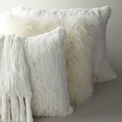 """Adrienne Landau - Adrienne Landau Fringed Rabbit-Fur Knit Throw, 52"""" x 72"""" - Luxurious ivory accessories from Adrienne Landau are made of dyed rabbit fur. For a touch of shaggy chic, add a pillow made of dyed Mongolian lamb's wool (front pillow on chair). Imported."""