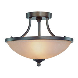 Jeremiah Lighting - Traditional / Classic 2 Light Semi-Flush Fixture from the Spencer Collection - The Spencer family offers extremely affordable options and styling to enhance the dcor of the trendiest of homes.