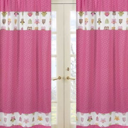 Sweet Jojo Designs - Sweet Jojo Designs Happy Owl Window Curtain Panel Pair in Pink - Add the perfect pop of color to your little one's room with the Happy Owl Window Panel Pair by Sweet Jojo Designs. Featuring a charming owl and mini leaf print, this playful panel pair instantly brightens up any room.