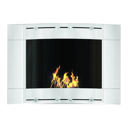 DecoFlame - Wave Modern Wall Mounted Ventless Ethanol Fireplace, White - Wave provides a sophisticated and streamlined aesthetic to any space using its curved frame offered in stainless steel and black or white high-gloss enamel. This fireplace offers an eco-friendly flame that is odorless. Bio Ethanol, an alternative fuel source produced from plants, only emits water vapor and carbon dioxide into the air, therefore no chimney or flue is needed. Although ethanol fireplaces aren't intended for use as a primary heat source, the Wave model produces approximately 9,800 btu with the help of its stainless burner, which will change the noticeable temperature in a room of approximately 450 square feet. For aesthetic appeal and safety, this fireplace includes two tempered glass sliding doors that are situated in front of the flame. Appropriate for any modern or contemporary living space, Wave can be mounted on the wall using the included hardware.