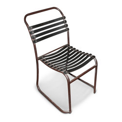 Kathy Kuo Home - McCobb Industrial Loft Rusted Metal Recycled Rubber Stacking Chair - Recycled rubber slats across a rusted iron frame create a comfortable, portable and stackable seating solution. Add some industrial flair to any area- a casual sunroom or an eclectic family room- and stash them away in the smallest of spaces.