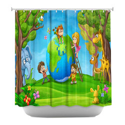 DiaNoche Designs - Shower Curtain Artistic - Fixing the Globe - DiaNoche Designs works with artists from around the world to bring unique, artistic products to decorate all aspects of your home.  Our designer Shower Curtains will be the talk of every guest to visit your bathroom!  Our Shower Curtains have Sewn reinforced holes for curtain rings, Shower Curtain Rings Not Included.  Dye Sublimation printing adheres the ink to the material for long life and durability. Machine Wash upon arrival for maximum softness. Made in USA.  Shower Curtain Rings Not Included.